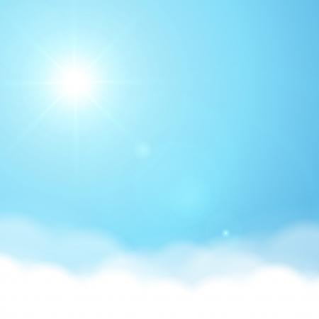 nubes cielo: Sol y cielo de fondo vector Vectores