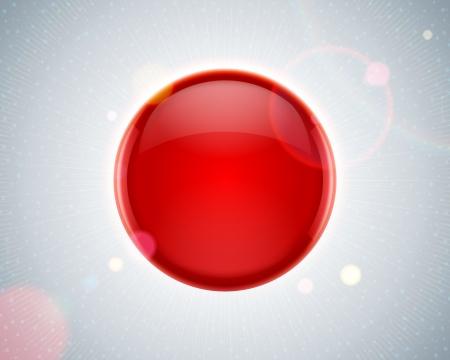 red sphere: Sfera astratta lucida rossa e lente bagliore di sfondo vettoriale