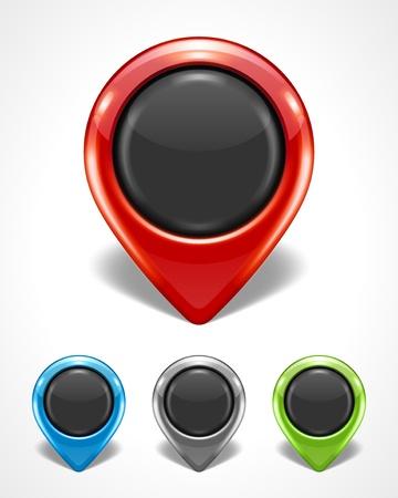 jelzÅ: Térkép mutató ikon, állhatatos, vektor, Ábra