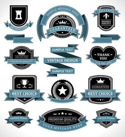 리본: 빈티지 라벨 및 리본 복고 스타일 설정 벡터 디자인 요소