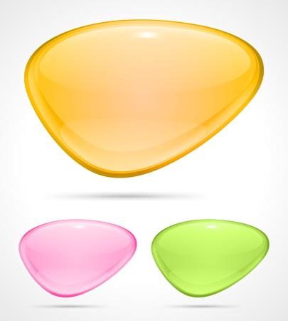 Abstract glossy speech bubbles set vector backgrounds  Çizim