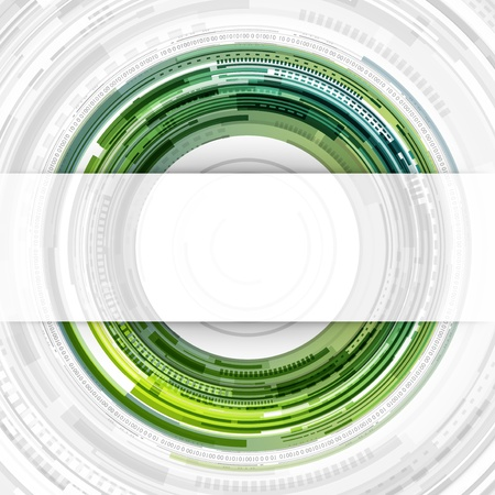 Abstract technology circles and transparent paper vector background