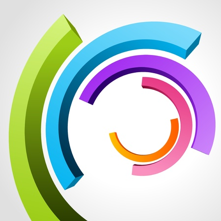 bend: Abstract 3d circle bend lines  Illustration