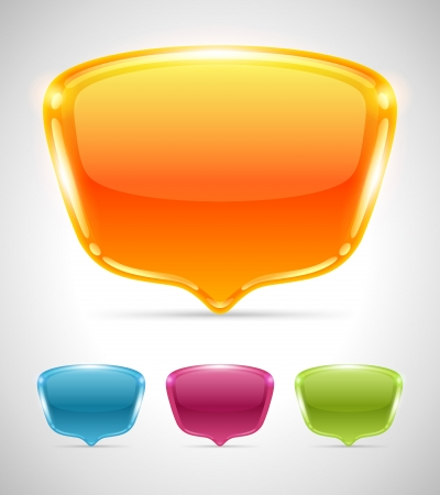 Abstract glossy speech bubbles set vector background