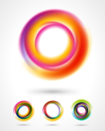 Abstract colorful circles design elements set Vectores