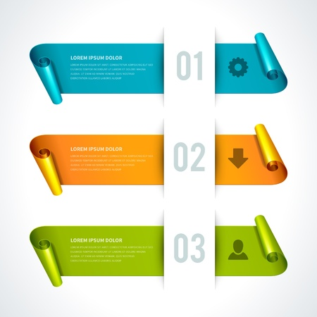 Infographics options design elements  Vector illustration  Cut paper and banner numbers website Stock Vector - 21858143
