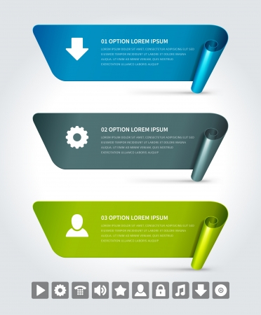 Infographics options design elements  Vector illustration  Scroll paper and banner numbers website eps 10  Vector
