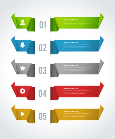 Infographics options design elements  Vector illustration  Lines and banner numbers and icons website  Vector