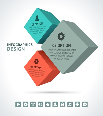 Infographics options design elements  Vector illustration  3d cubes banner numbers and icons website   Vector
