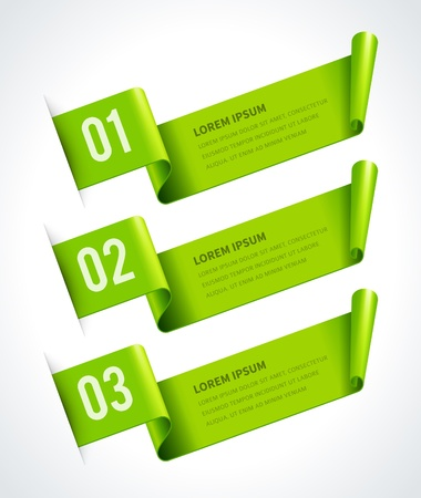Infographics options design elements  Vector illustration  Scroll paper banner or header numbers website   Vectores