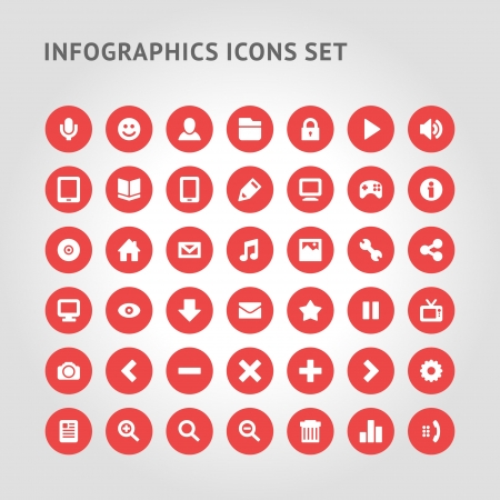Set Infographics web icons or design elements  Vector illustration   Vectores