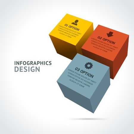 Infographics options design elements  Vector illustration  3d cubes banner numbers and icons website