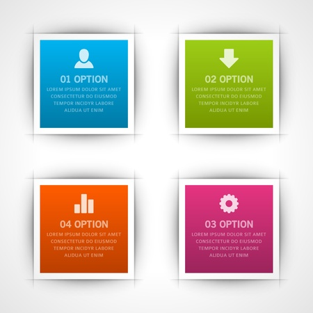 Infographics options design elements  Vector illustration  Square banner numbers and icons website eps 10   Vector