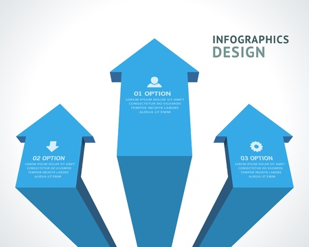 versions: Infographics options design elements  Vector illustration  3d arrows banner numbers and icons website