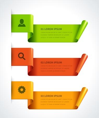 인포 그래픽 옵션 디자인 요소 벡터 일러스트 레이 스크롤 종이 배너 또는 헤더 번호 웹 사이트