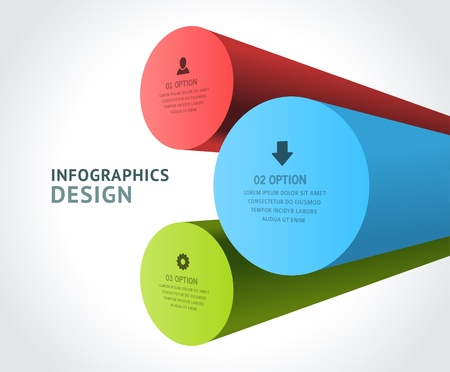 Infographics options design elements  Vector illustration  3d rounds banner numbers and icons website Illustration