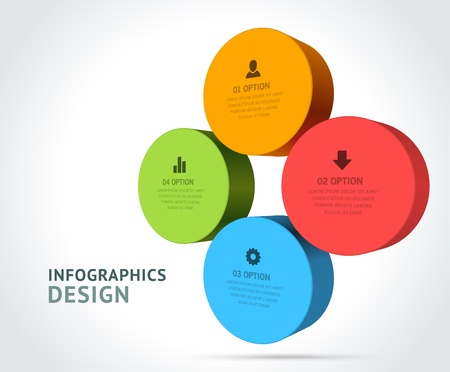 Infographics options design elements  Vector illustration  3d rounds banner numbers and icons website Stock Vector - 21716502