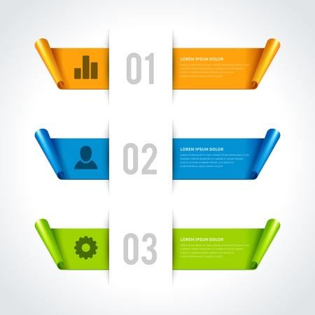 Infografía opciones de elementos de diseño Ilustración vectorial de papel cortado y bandera website números