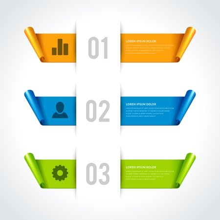 Infographics options design elements  Vector illustration  Cut paper and banner numbers website