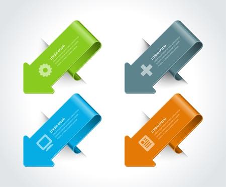 pesta�as: Infograf�a opciones de elementos de dise�o Ilustraci�n vectorial de l�neas y n�meros de banners y web iconos