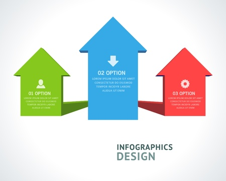 vector arrows: Infographics options design elements  Vector illustration  3d arrows banner numbers and icons website