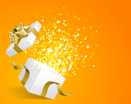 Open gift with fireworks from confetti vector background  Eps 10 Vectores
