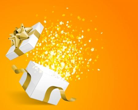 Open geschenk met vuurwerk van confetti vector achtergrond Eps 10