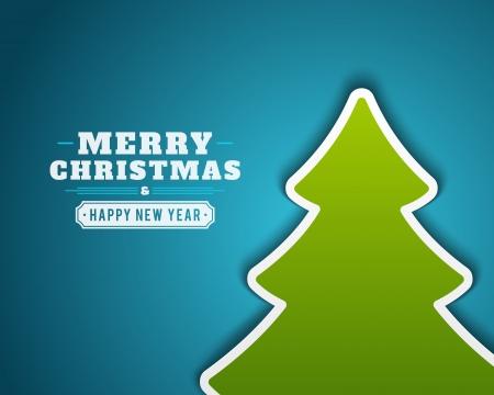 christmas template: Verde albero applique sfondo vettoriale di auguri o invito di Natale Natale