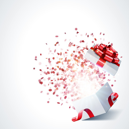 Open gift with fireworks from confetti vector background  Eps 10  Illustration