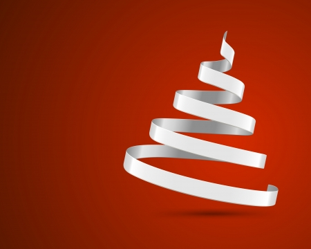 lent: Christmas tree from ribbon vector background  Christmas card or invitation
