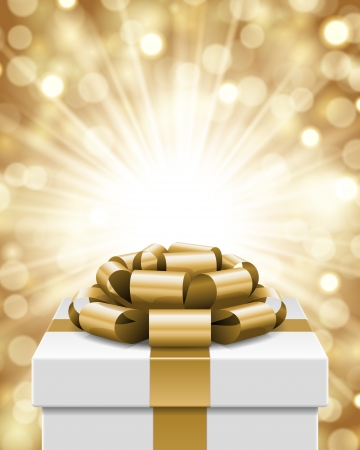 Gift box and light christmas vector background  Card or invitation  Eps 10