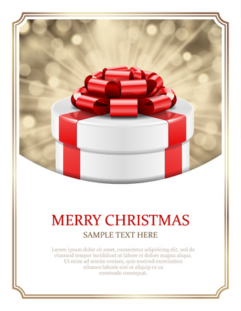 red gift box: Gift box and light christmas vector background  Card or invitation  Eps 10