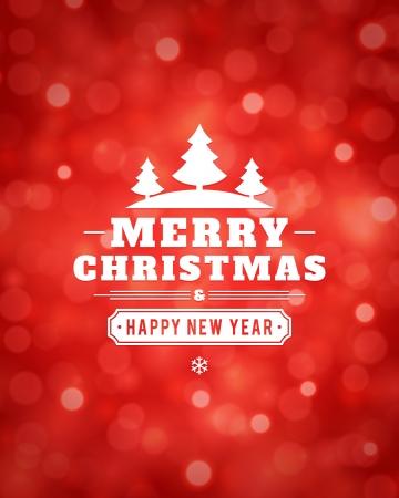 rojo: Vector tarjeta de Navidad de la luz de fondo o invitación
