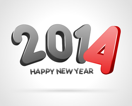 2014 Happy New Year 3d message vector background  Eps 10  Stock Vector - 22378077