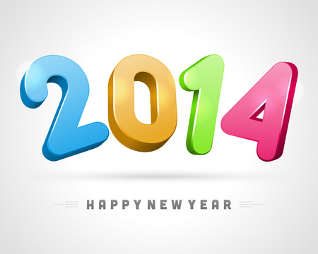 year 3d: 2014 Happy New Year 3d message vector background  Eps 10
