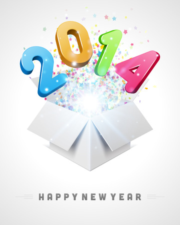 3d Happy new year 2014 3d message fly from open box vector background  Eps 10   Vector