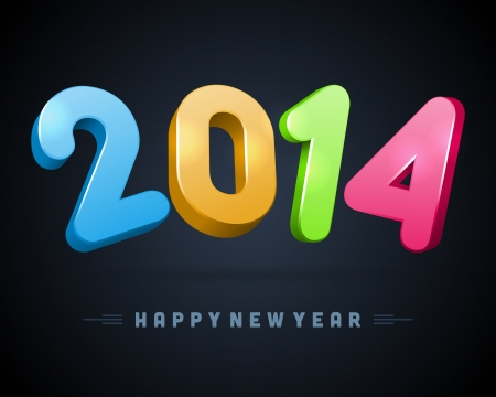 message vector: 2014 Happy New Year 3d message vector background  Eps 10