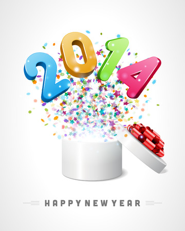 3d Happy new year 2014 3d message fly from open box vector background  Eps 10   Stock Vector - 22378085