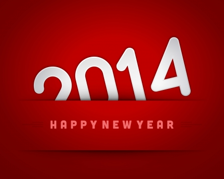 Happy new year 2014 message applique vector design element  Eps 10