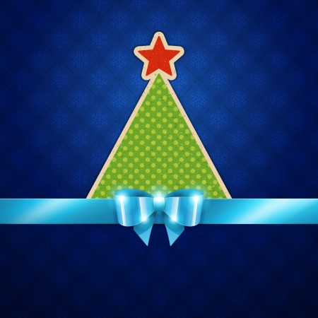 Christmas tree applique and blue bow vector background  Christmas decoration and snowflakes pattern   Vector