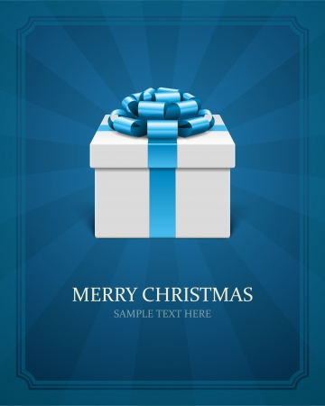 blue box: Gift box with bow  Christmas card or invitation  Vector background eps 10