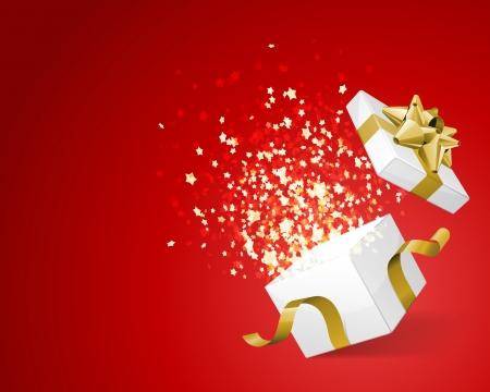 Open geschenk en licht vuurwerk kerst vector achtergrond