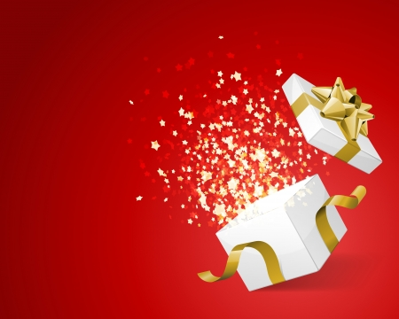 christmas presents: Open gift and light fireworks christmas vector background