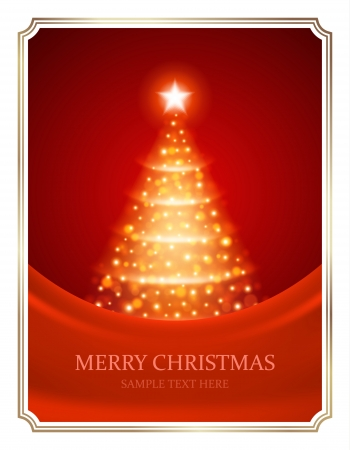 Christmas tree from light vector background  Card or invitation  Eps 10   Vector