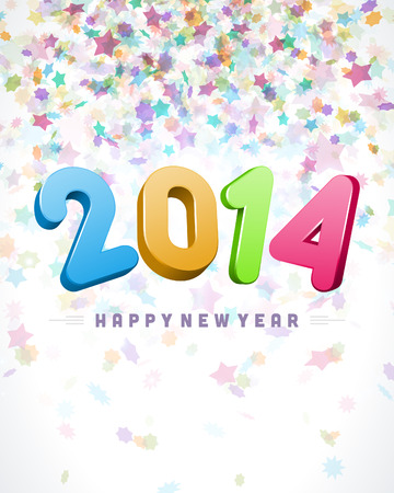 Happy New Year 2014 3d message vector background  Eps 10   Vector