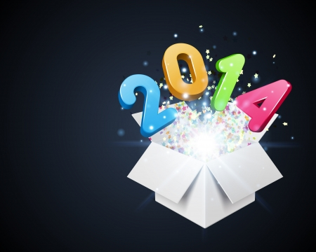 fro: 3d Happy new year 2014 3d message fly fro open box vector background  Eps 10