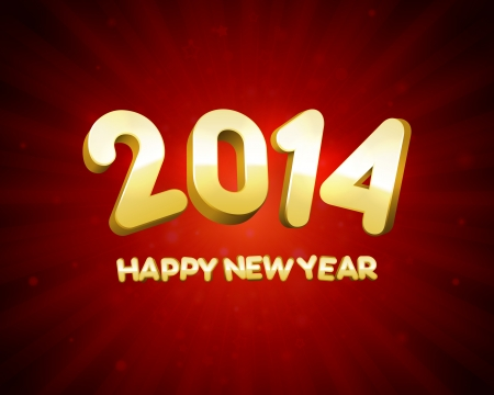 Happy New Year 2014 3d message and light vector background  Eps 10   Vector