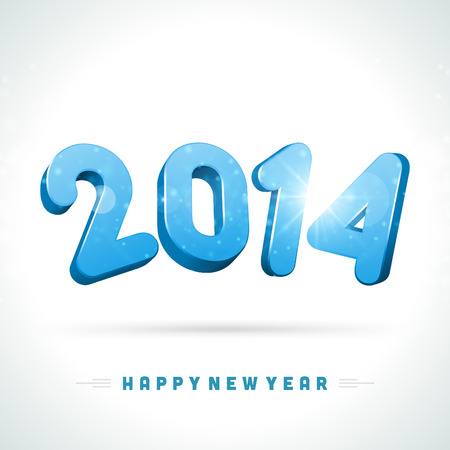 Happy New Year 2014 3d message and light vector background  Eps 10   Stock Vector - 22964599