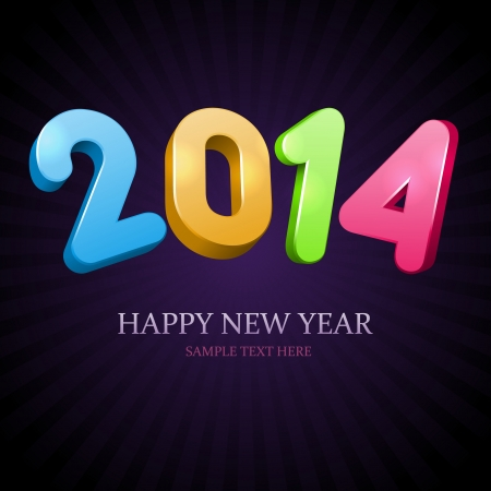 Happy New Year 2014 3d message vector background  Eps 10 Stock Vector - 22964683
