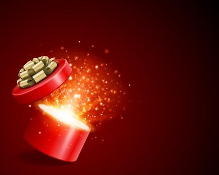 오픈 선물 빛 불꽃 놀이 크리스마스 벡터 배경 크리스마스와 새해 나 생일 축하 그림
